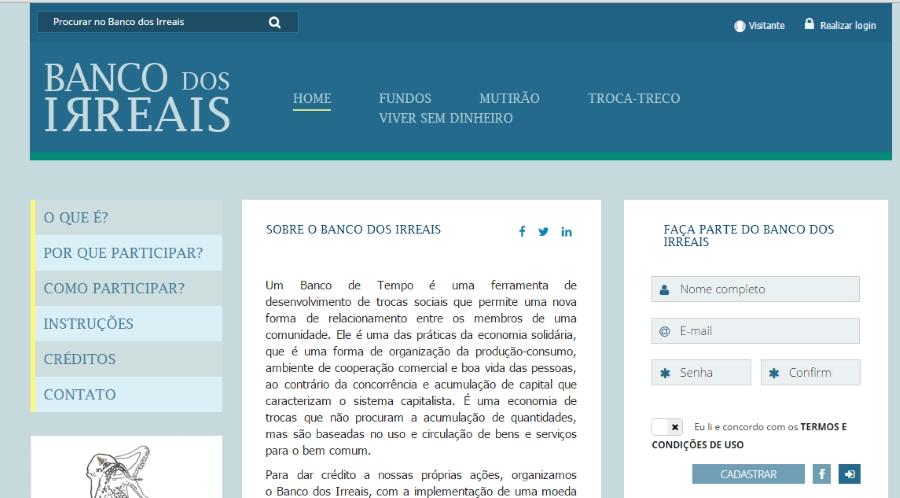 Site do Banco dos Irreais: ferramenta de troca entre as pessoas que gera engajamento, diálogo e ajuda. Os usuários também tem a opção de se inscrever pelo Facebook (Crédito: Reprodução Internet)