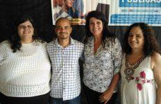 A maestrina Cássia Ávila, o coordenador Glauco Cruz e as quebradeiras Fátima Miranda e Leda Lessa (Crédito: Carú Pastor)